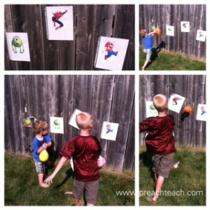 target practice with water balloons
