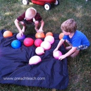 sorting balloons by color