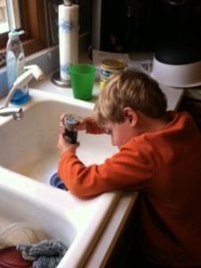 flashlight down sink