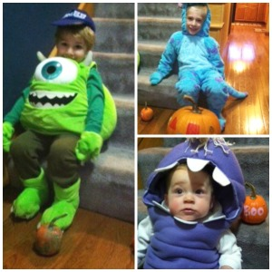 monster costumes and painted pumpkins