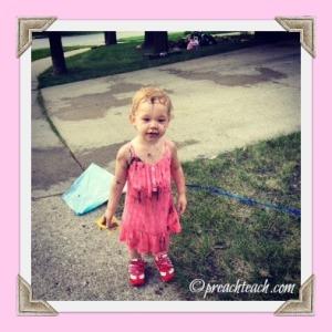 muddy girl and kite