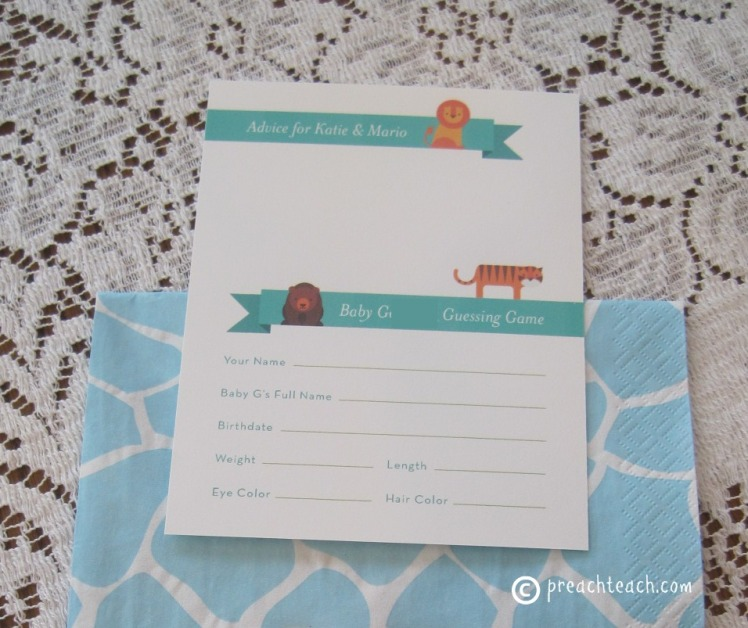 baby shower advice cards and guessing game